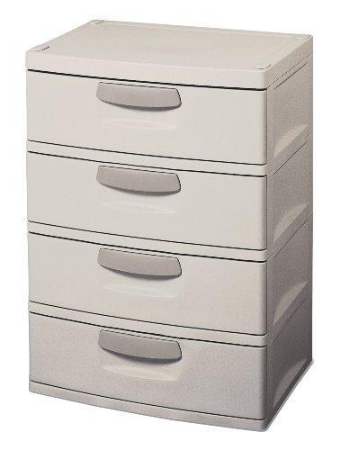 Sterilite 01748501 4-Drawer Unit with Putty Handles, Light Platinum