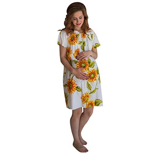 WEISUN Women Maternity Dress Fashion Sunflower Print Pregnant Dress Summer Maternity Mini Dress White