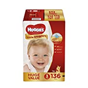 HUGGIES Little Snugglers Baby Diapers, Size 3, 136 Count