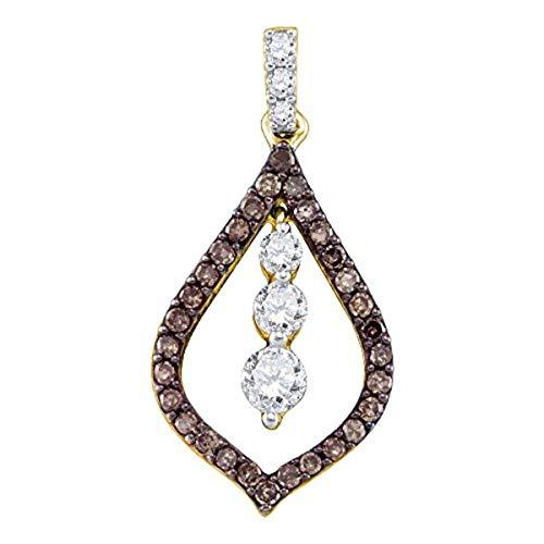 1/2 Journey Ct Diamond Pendant - Womens Round Cognac-brown Color Enhanced Diamond Teardrop Journey Pendant 1/2-Carat tw, in 10K Yellow Gold from Roy Rose Jewelry