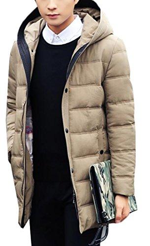 Hot Sale-UK Men's Windproof Warm Hooded Thick Duck Down Long Down Coat Jacket 1