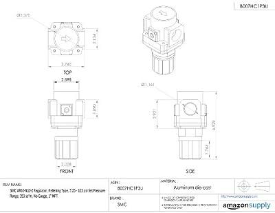 "SMC AR60-N10-Z Regulator, Relieving Type, 7.25 - 123 psi Set Pressure Range, 353 scfm, No Gauge, 1"" NPT"