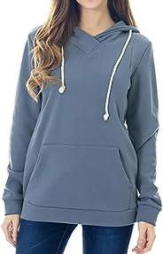 Smallshow Women's Fleece Maternity Nursing Sweatshirt Hoodie with Kangaroo Po