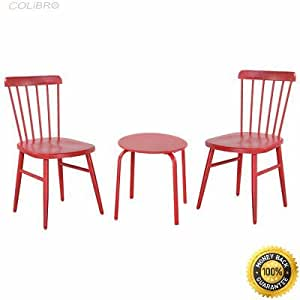 COLIBROX--3PCS Patio Table Chairs Furniture Set Bistro Garden Lawn Pool Side Steel Red