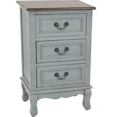 Two-Tone 3-Drawer Accent Table, Arctic Blue/Walnut Top