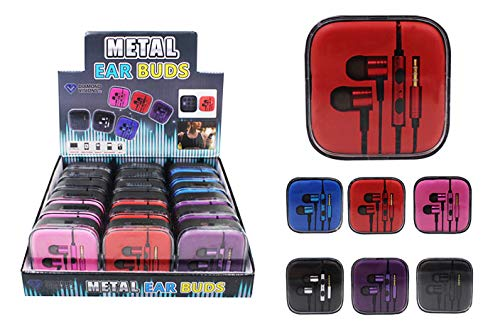 Dollar Item Direct Metal Ear Buds with Case, Case of 144