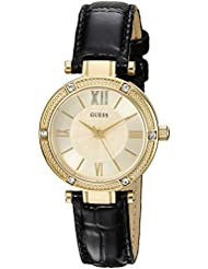 GUESS Womens U0838L1 Dressy Gold-Tone Watch with Gold Dial , Crystal-Accented Bezel and Genuine Leather Strap...