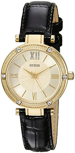 GUESS Women's U0838L1 Dressy Gold-Tone Watch with Gold Dial , Crystal-Accented Bezel and Genuine Leather Strap Buckle