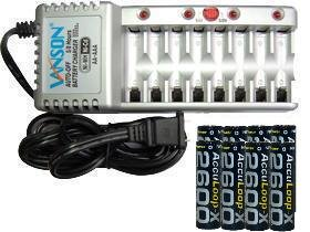 8 Bay Aaa/Aa Charger & 8 Aa 2600 Mah Acculoop-X Nimh Batteries (Low Discharge)