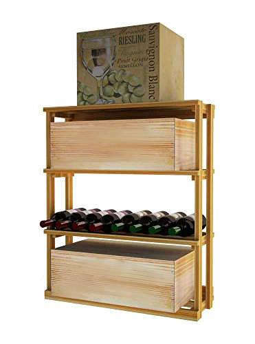 Wine Cellar Innovations TR-UN-RBWC-A3 Traditional Series Rectangular Bin Wood Case Wine Rack, Premium Redwood, Unstained