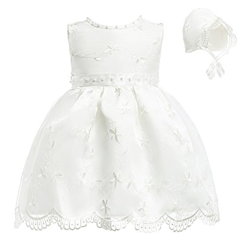 Moon Kitty Baby Girls Flower Beaded Embroideries Baptism Dresses 2 Piece Christening Gown -