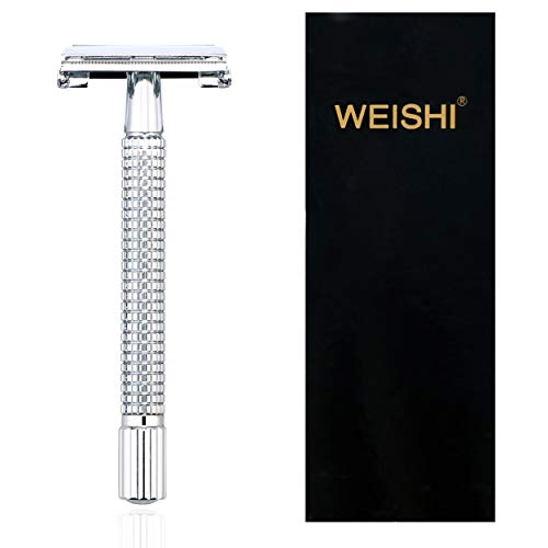 WEISHI Chrome Long Handle Version Butterfly Open Double Edge Safety Razor.