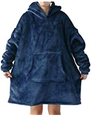 Hoodie Ultra Plush Comfy Blanket Giant Sweatshirt Huggle Fleece Warm Hooded (Blue)