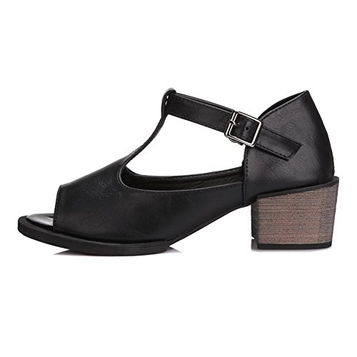Amoonyfashion Open Toe Kitten Tacchi Morbidi Sandali Con Fibbia In Materiale Solido Nero