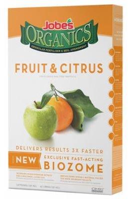 Jobe's Organics Fruit & Citrus Fertilizer with Biozome, 3-5-5 Organic Fast Acting Granular Fertilizer for All Fruit and Citrus Trees, 4 pound bag