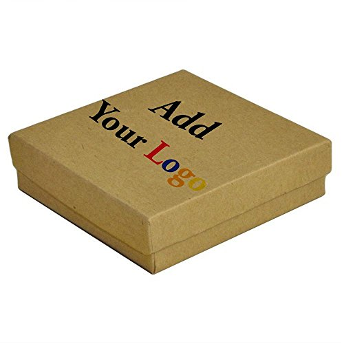 100 Pieces Brown Kraft Custom Printed Cotton Filled Jewelry Packaging Gift Boxes ~ 3.5