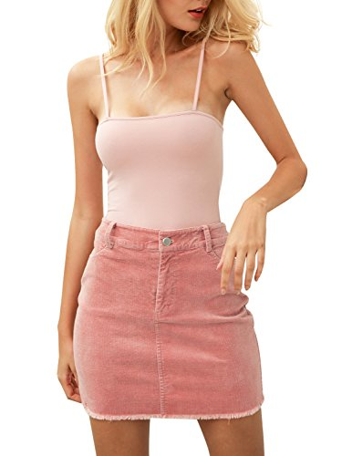 Glamaker Women's Autumn Slim Corduroy Skirts Short Pockets Skirts (Womens Jacket Skirt)