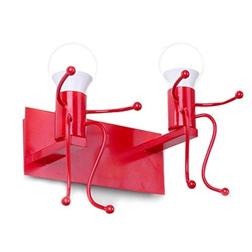 SODIAL Creatif Dessin anime Petits gens LED Appliques pour Salon Chambre Couloir moderne Double tete de metal Lampe de chevet Appliques murales pour les enfants Eclairage interieur rouge