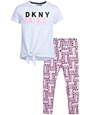 DKNY Girls' Performance Leggings Set - Short Sleeve T-Shirt and Active Capri Yoga Pants