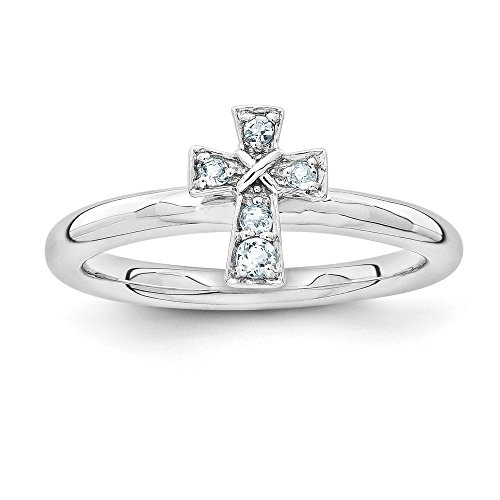 Rhodium Plated Sterling Silver Stackable Aquamarine 9mm Cross Ring Sz7 from Stackable Expressions