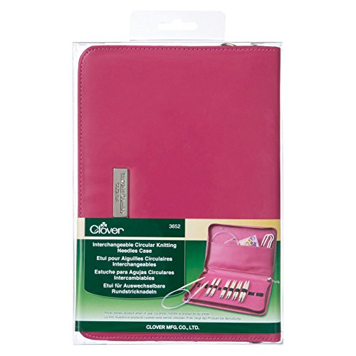 Clover 3652 Needlecraft Interchangeable Circular Knitting Needle Case, Pink