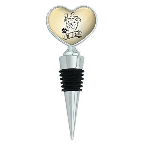 I Love My Pit Bull Heart Love Wine Bottle Stopper ()