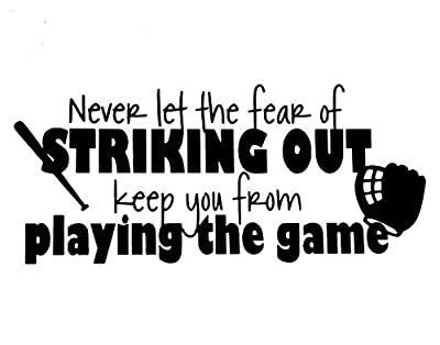 YINGKAI Never Let the Fear of Striking Out Keep You From Playing the Game Babe Ruth Quote Living Room Home Schools Offices Vinyl Carving Wall Decal Sticker for Home Window Decoration