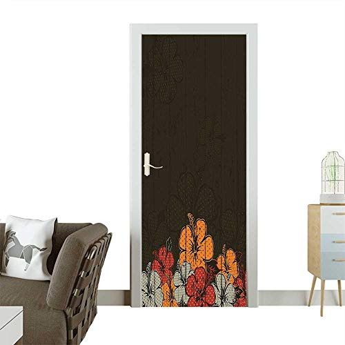 Homesonne Decorative Door Decal Wooden Backdrop with Hawaiian Romantic Flowers Buds Blooms Leaves Amber Red Army Green Stick The Picture on The doorW23.6 x H78.7 INCH