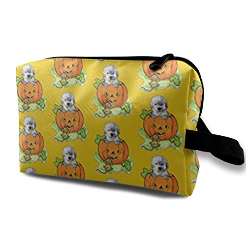 Wialis8 Halloween Labradoodle Puppy Makeup Bag/Travel Cosmetic Bags/Toilet Bag/Jewelry Storage Bag Portable Multifunction Colorful Travel Toiletry Bags Makeup Bags Wash Organizer. ()