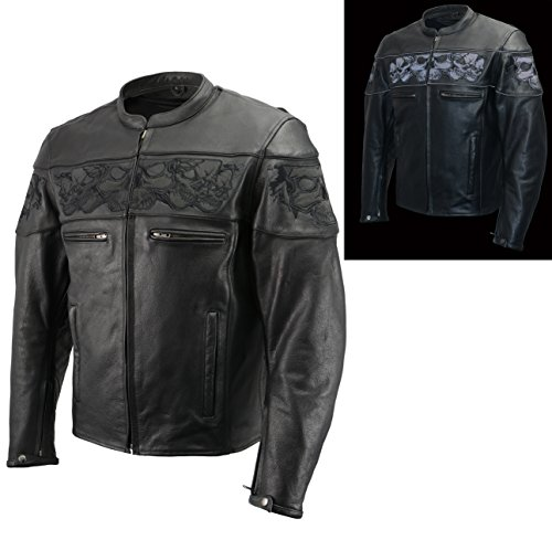 Men's Leather Skull Scooter Jacket W Removable Armor in Premium Natural Buffalo Leather | Gun Pockets, Vents, Side Zippers | Black and Grey Biker Jacket (Black, 2X)