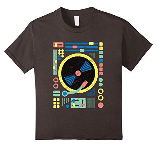 [Kids DJ T-Shirt: Retro Vintage Geometric DJ Decks / Vinyl / Mixer 6 Asphalt] (Disco Dj Costume)