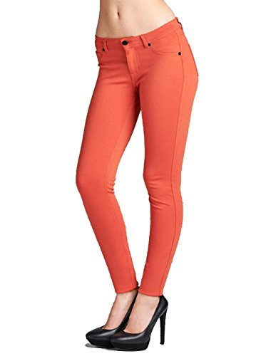ACTIVE USA 5 Pockets Skinny Ponte Pants (L, Spicy Orange)
