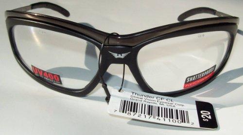 (Thunder Safety Glasses Clear Lenses Meets ANSI Z87.1-2003 Standards for Safety Eyewear Shiny Dark Gunmetal Frame)