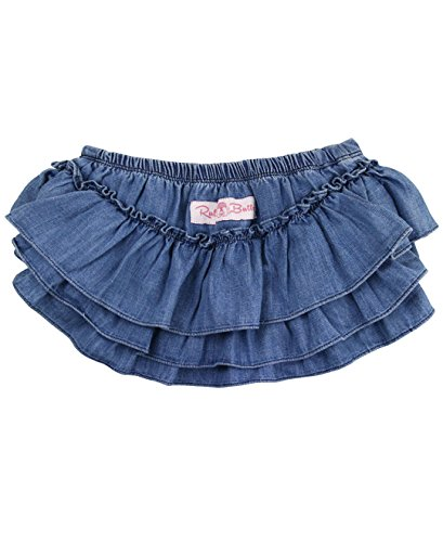 RuffleButts Infant / Toddler Girls Denim Skirted Bloomer - Light Wash Denim - 12-18m