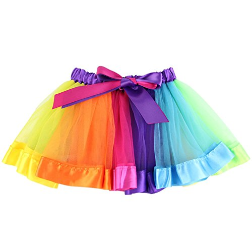 (Geekercity Girls' Layered Rainbow Tutu Skirt Dance Dress Colorful Ruffle Tiered Tulle)