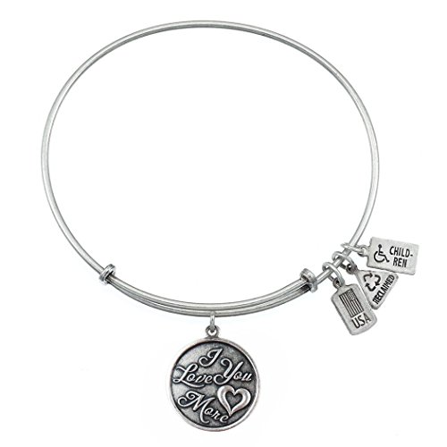 Wind and Fire I Love You More Charm Bangle  Silvertone