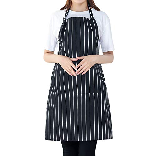 Ratoop Cooking Chef Kitchen Restaurant Bib Apron Dress with 2 Pockets Gift Unisex Black from Ms. Ratoop