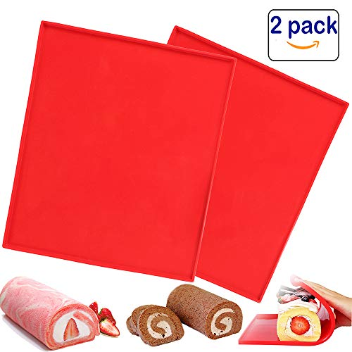 2 Pcs Luck Love Swiss Roll Cake Mat Flexible Baking Tray Jelly Roll Pan Silicone Cookies Mold Bakeware ()