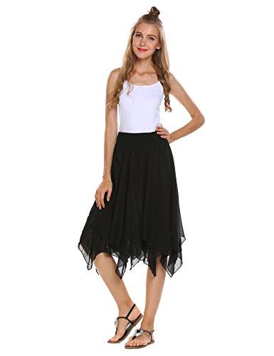 Zeagoo Women's Elastic Waist Ballet Layered Princess Mesh Tulle Midi Skirt,Z#black,Small