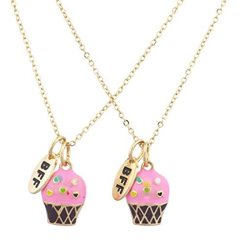 Lux Accessories Gold Tone Pink Cupcakes BFF Best Friends Necklace Set (2PCS)