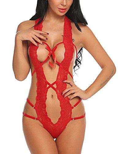 Avidlove Women Deep V Halter Lingerie Teddy One Piece Bodysuit Lace Babydoll Red M