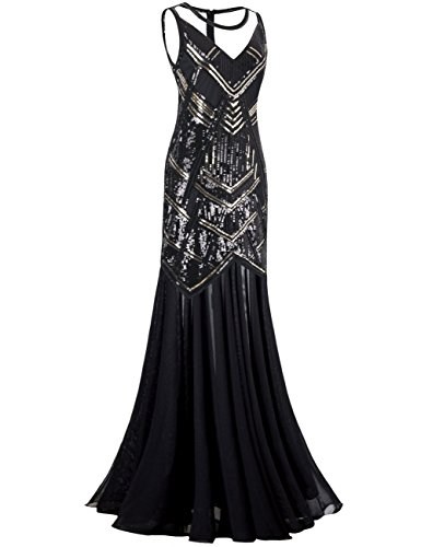 Kayamiya-Womens-1920s-Beaded-Sequin-Geometric-Pattern-Maxi-Long-Gatsby-Flapper-Prom-Dress