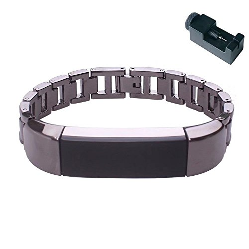 Lavender Polished Bracelets - KingFurt For Fitbit Alta Bands/Fitbit Alta hr,Metal Replacement Bands/Wristbands/Strap Assesories for Fitbit Alta Activity and Sleep Tracker, Decorate your Fitness Tracker (Black)