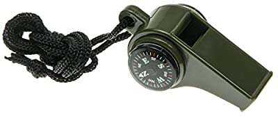 3 in 1 Emergency Whistle Survival Tool Camping Sports Hiking Whistles W/compass Thermometer Army Green - ONE ITEM COLOR MAY VARY