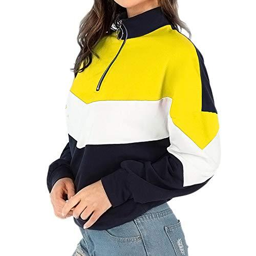 shusuen Women Autumn Winter Patchwork O-Ring Zippers Sweatshirt Pullover Splicing Shirt - O-ring Plus Womens