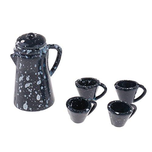 Perfk 全5点 2カラー 陶器製 家具モデル コレクション ティーポット 茶碗模型 1/12ドールハウス飾り - 濃紺の商品画像