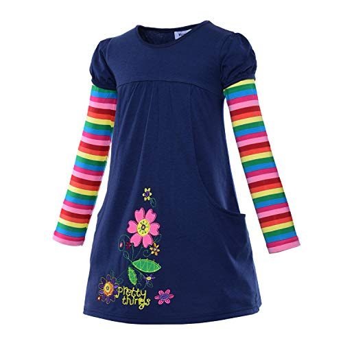 (Toddler Girls Casual Dresses Clothes - Lovely Cartoon Flower Applique Jersey Cotton Rainbow Striped Long Sleeve Holiday Dress Up Costume for Little Princess Birthday Party Size 4t 5t M(5) 4-5)