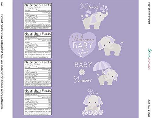 Water Bottle Labels Gray Elephant Set of 24 (Purple)
