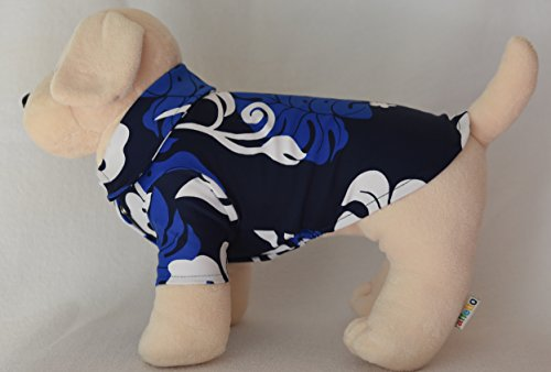 [Private Island Hawaii Pet Clothes UV Rash Guard for Dogs Dog Cats Cat Puppy Hawaiian Aloha Shirt Dresses MuMu Shirt Dresses Blue with White] (Costumes With Mumus)