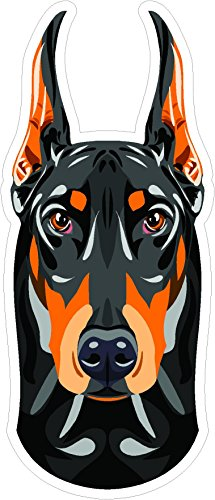 Dog Doberman Pinscher head 7x3 inches man's best friend puppy animal america united states murica color sticker state decal die cut vinyl - Made and Shipped in USA ()